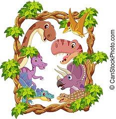 satz, glücklich, karikatur, dinosaurier, sammlung