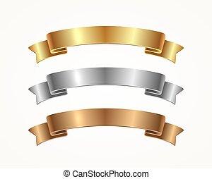 satz, -, gold, geschenkband, silber, banner, bronze