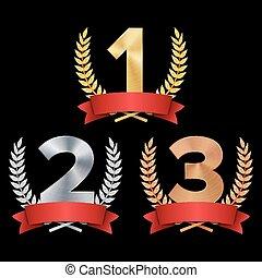 satz, gold, kranz, eins, konkurrenz, drei, lorbeer, zwei, concept., freigestellt, 3, vector., 2, rotes , abbildung, spiel, auszeichnung, silber, bronze, trophäe, ribbon., realistisch, figuren, black., 1