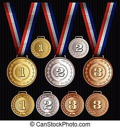 satz, gold, muster, vektor, medaillen, silber, bronze