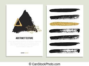 satz, gold, poppig, plakate, glitzer, texture.