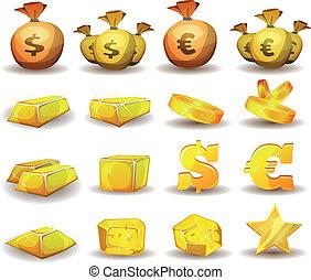 satz, gold prägt, kredit, spiel, geld, schnittstelle