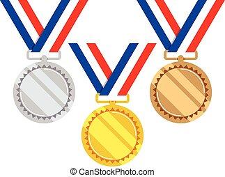 satz, gold, vektor, medaillen, silber, bronze