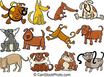 satz, groß, hunden, hundebabys, karikatur, oder