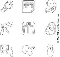 satz, Grobdarstellung, heiligenbilder, groß,  symbol, Sammlung, vektor, abbildung, Schwangerschaft, Stil, Bestand
