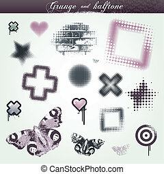 satz, grunge, halftone, elemente, verschieden, design
