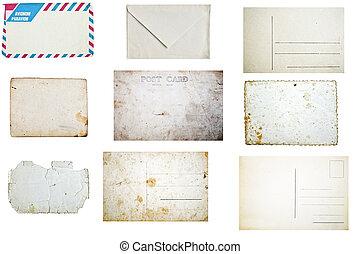 satz, grunge, umschläge, freigestellt, hintergrund, postkarten, weißes, leerer