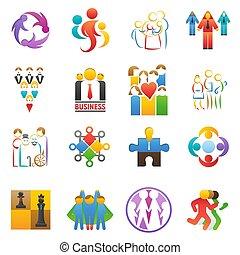 satz, gruppe, vernetzung, geschäfts-ikon, gewerkschaft, abstrakt, leute, partnerschaft, freigestellt, abbildung, vektor, gemeinschaftsarbeit, businessteams, hintergrund, mannschaft, mannschaftskamerad, abzeichen