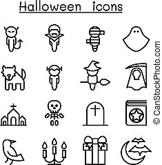 satz, halloween, ikone