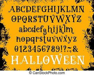satz, halloween, vektor, schriftart, art, karikatur