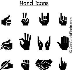 satz, hand, ikone