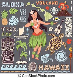 satz, hawaiianer, heiligenbilder, symbole, vektor, retro
