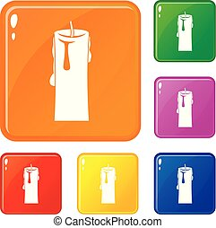 satz, heiligenbilder, farbe, eins, vektor, kerze
