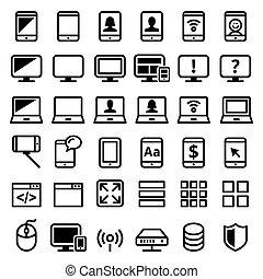 satz, heiligenbilder, laptop-computer, smartphone, web, linie, vektor, moderne technologie, -