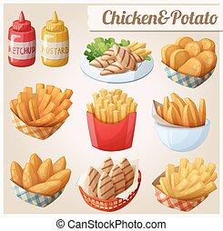 satz, heiligenbilder, lebensmittel, potato., vektor, huhn, karikatur