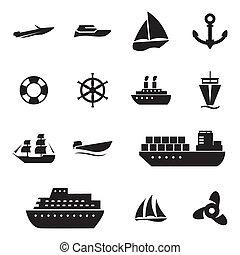satz, heiligenbilder, vektor, schwarz, schiff, boot
