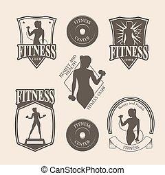 satz, heiligenbilder, weinlese, emblem, fitness, logo