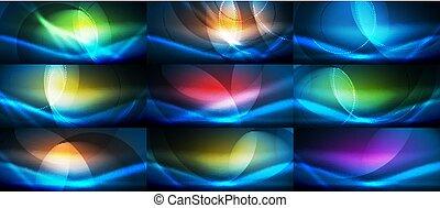satz, hintergruende, abstrakt, neon, welle, vektor, strömend