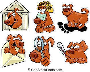 satz, hund, heiligenbilder