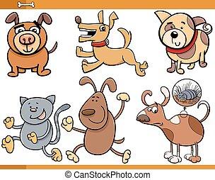 satz, hunden, charaktere, karikatur