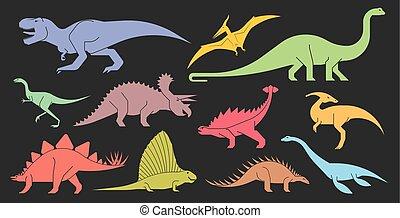 satz, icons., stilisiert, dinosaurierer, vektor, geometrisch
