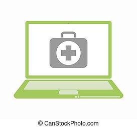 satz, ikone, freigestellt, hilfe, laptop, zuerst