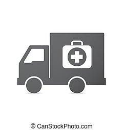 satz, ikone, freigestellt, hilfe, zuerst, lastwagen