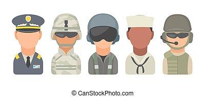 satz, ikone, zeichen, militaer, leute., soldat, offizier, pilot, marine, seemann, kavallerist