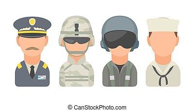 satz, ikone, zeichen, militaer, leute., soldat, offizier, pilot, marine, seemann
