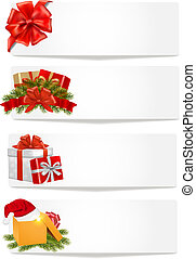 satz, illustration., banners., vektor, weihnachten, winter