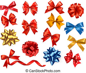 satz, illustration., geschenk, groß, farbe, verbeugungen, vektor, ribbons.