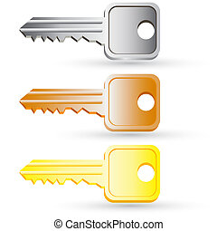 satz, illustration., haus, icons., vektor, schlüssel