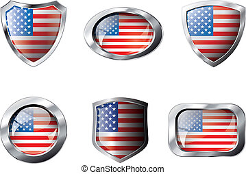 satz, illustration., usa, metall, rahmen, gegenstand, -, freigestellt, gegen, schilder, tasten, hintergrund., fahne, vektor, weißes, amerika, glänzend, abstrakt