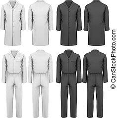 satz, illustration., vektor, design, worker., overalls, ...