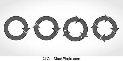 satz, illustration., vektor, schwarz, arrows., kreisförmig