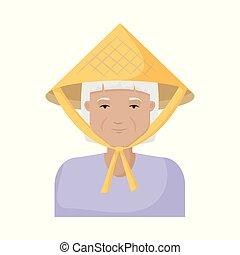 satz, illustration., vietnamesisch, vektor, design, kostüm, m�dchen, icon., bestand