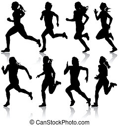 satz, illustration., women., silhouettes., vektor, läufer, sprint