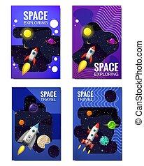 satz, isolated., banners., entfernt, flyear, banner, raum, fliegendes, reise, zeitschriften, andere, vektor, sternen, raketen, plakate, schablone, universum, decke, planeten, abbildung, galaxien, erforschung, buch