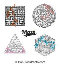 satz, isolated., puzzel, labyrinth, spiel, vektor, labyrinth