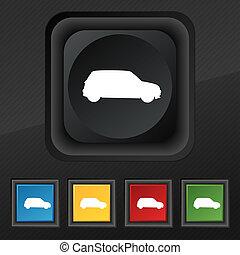 satz, jeep, symbol., beschaffenheit, bunte, tasten, schwarz, stilvoll, fünf, ikone, dein, design.