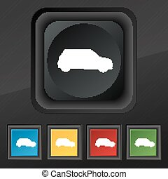 satz, jeep, symbol., beschaffenheit, bunte, tasten, vektor, schwarz, stilvoll, fünf, ikone, dein, design.