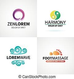 satz, joga, wohlfühlen, natürlich, vektor, massage, logo, spa, meditation, elemente