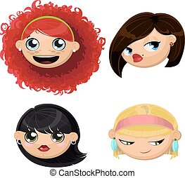 satz, köpfe, 4, weibliche , karikatur