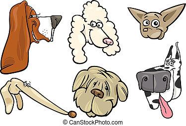 satz, köpfe, karikatur, hunden