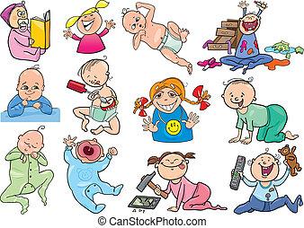 satz, karikatur, babys, kinder