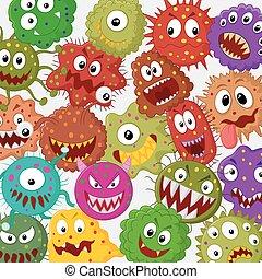 satz, karikatur, sammlung, bakterien