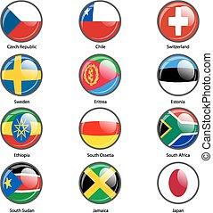 satz, kreis, ikone, flaggen, von, welt, souverän, states.,...