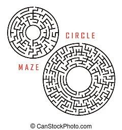 satz, kreisförmig, labyrinth