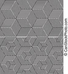 satz, kubisch, patterns., seamless, zwei, elemente, b&w