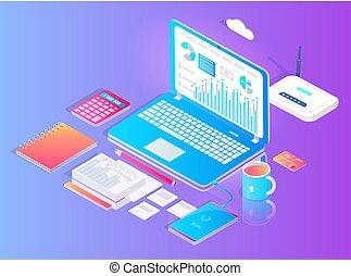 satz, laptop, wifi, vektor, arbeitsbereich, router